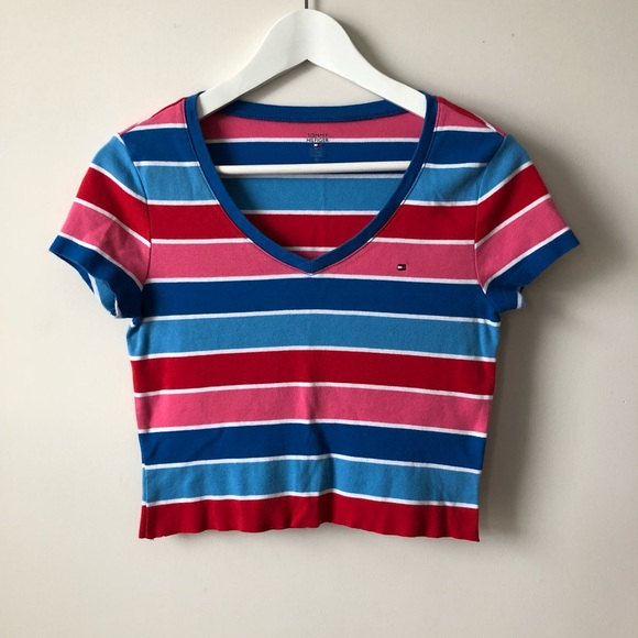 5b2164081aa Tommy Hilfiger Tops - vintage 90s Tommy Hilfiger Striped V-Neck Crop Top